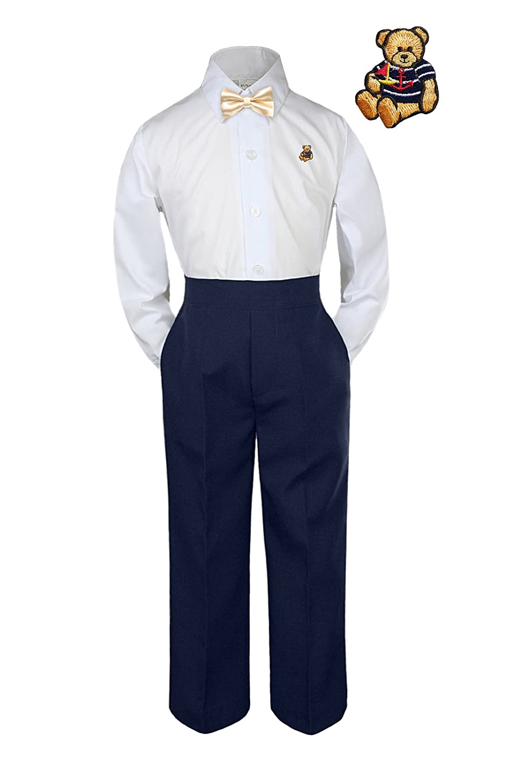 Unotux 3pc Formal Baby Toddler Boys Champagne Bow Tie Navy Pants Bear Suit S-7 M