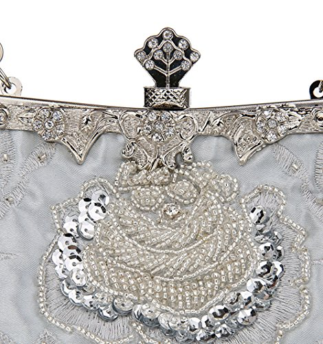 Wedding Women Handbag Purse Vintage Silver Sequined Beaded Manual For Party KING MIMI Evening Clutch Style And Bags nPfqSTU0w