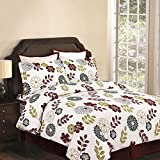 Tribeca Living Floral 170 GSM Printed Flannel 3-Piece KING Size Reversible Duvet Cover Set Made of 100% Flannel