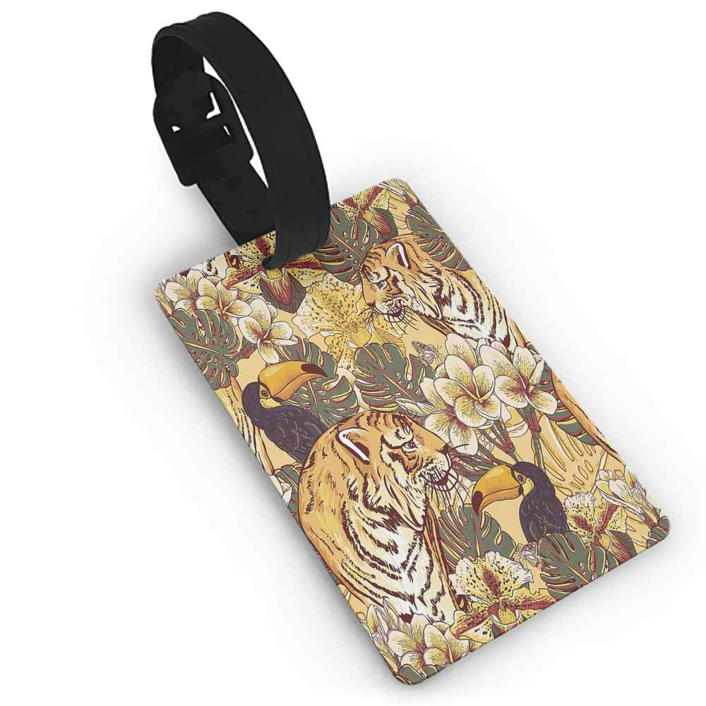 Leather luggage tag,Tiger,Close up of Panthera Tigris Altaica Siberian Giant Feline Russian Predator,Holders Zip Seal /& Steel Loops Thick Light Brown Black