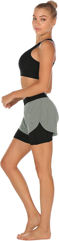 icyzone Damen Kurze Hose Sport Fitness Gym 2-in-1 Shorts Atmungsaktiv Laufshorts