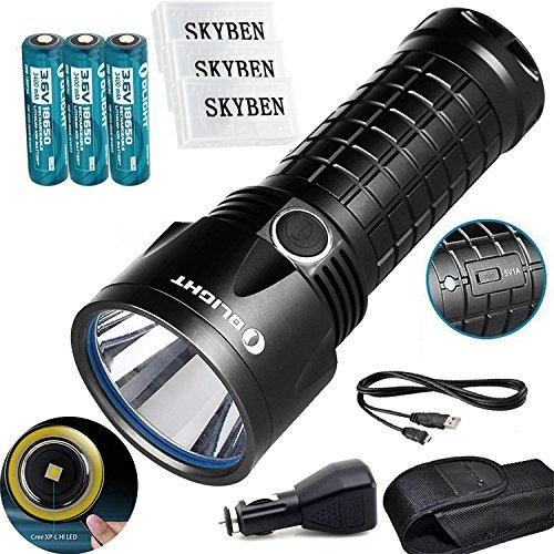 Bundle:Olight SR52UT Rechargeable Cree XP-L HI LED 1100 lumens 800 meters Waterproof flashlight+3*Olight 18650 3400 mAh Battery +3*Skyben 18650 Battery Case