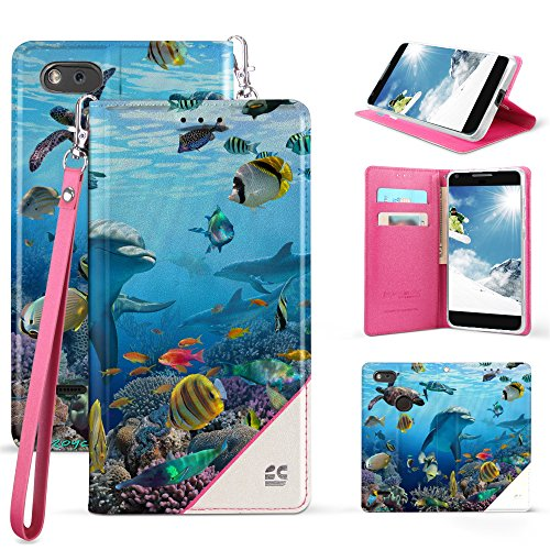 ZTE Blade Force N9517, Warp 8, ZTE Blade X Z965 Case, Spots8 Faux Leather Hybrid Flip Wallet Cover With Phone Strap Kickstand ID Slots And Invisible Magnetic Closure - Dolphins Reef Sea World
