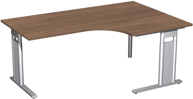 Geramöbel PC-Schreibtisch rechts höhenverstellbar, C Fuß Blende optional, 1800x1200x680-820, Nussbaum/Silber