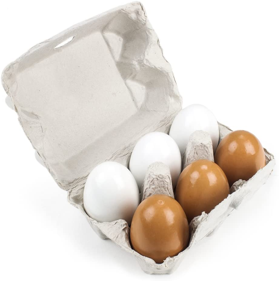 Wooden Eggcellent Eggs Set with Real Carton - 7 Assorted Pieces!