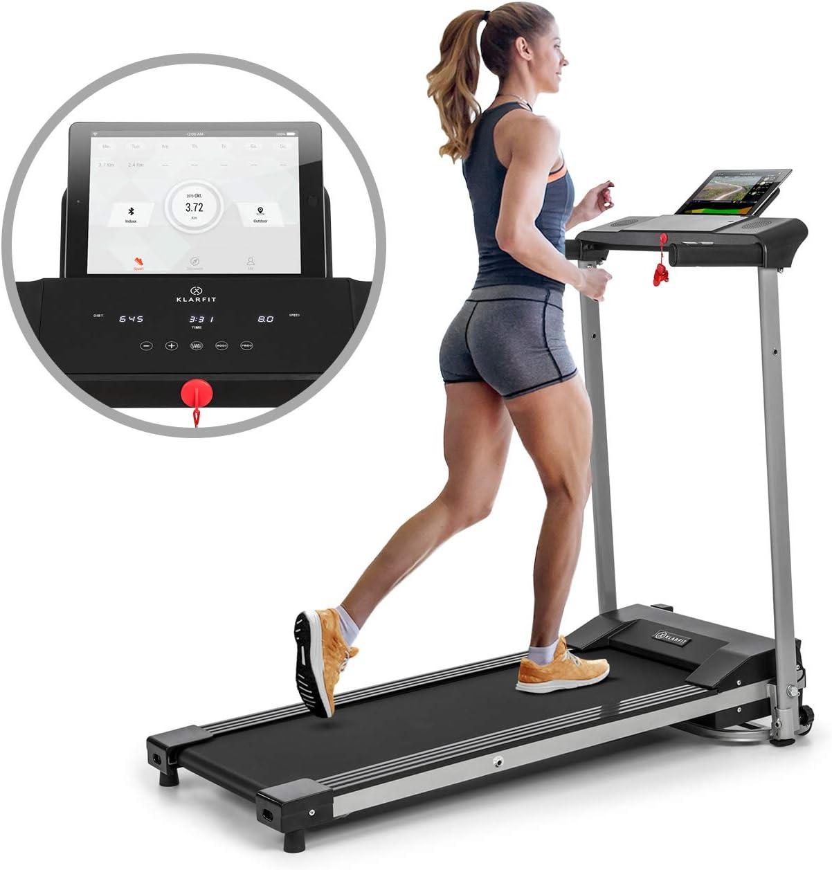 KlarfitTreado ActiveCinta de correr plegable - 1,1 PS de potencia, Entrenamiento cardio, Velocidad regulable de 10 km/h, 3 programas de entrenamiento, Sistema AudioConnect, Altavoces, Negro