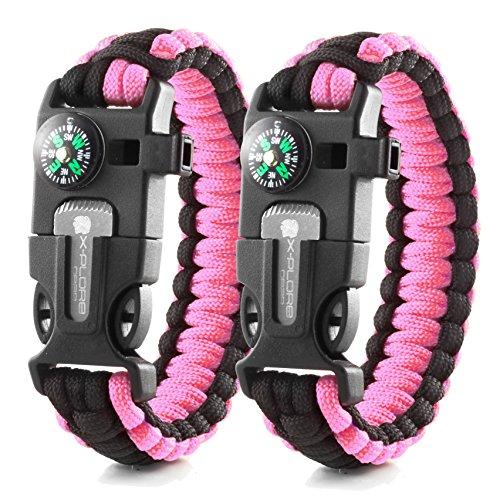 X-Plore Gear Emergency Paracord Bracelets | Set Of 2| The ULTIMATE Tactical Survival Gear| Flint Fire Starter, Whistle, Compass & Scraper/Knife| BEST Wilderness Survival-Kit - Pink(K)/Pink(K) - Survival Whistle Kit