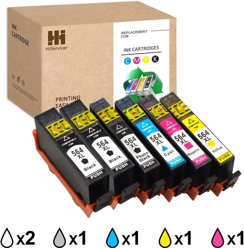 6-Pack HiServicer Compatible Ink Cartridge Replacement for HP 564XL 564 564XL HP-564XL for HP 7510 7520 5520 6510 5510 7515 C6380 Premium C309a C410a Officejet 4620 4622 Deskjet 3520 3521 3522