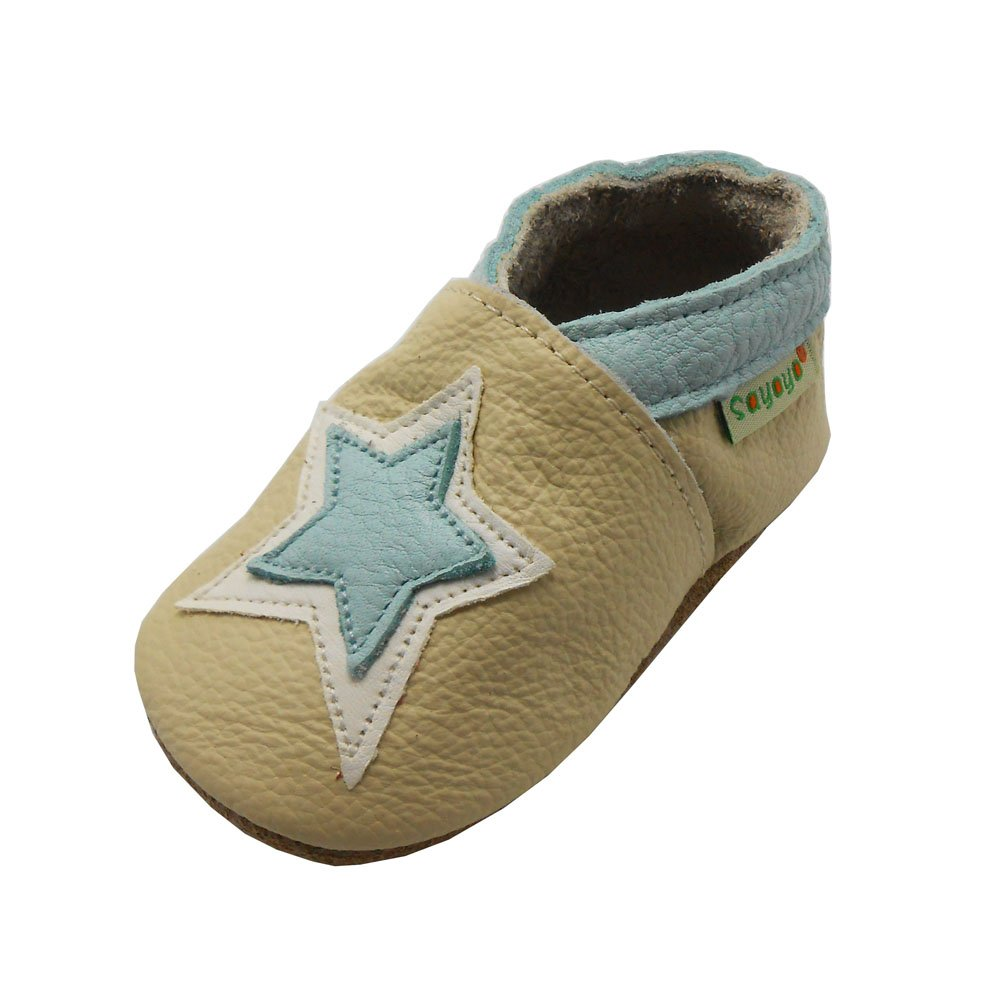 Sayoyo Baby Five Pointed Star Soft Sole Leather Infant and Toddler Shoes Bai Shu 1070-$P