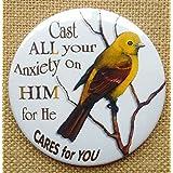 """Fridge Magnet: 3"""", Religious, Cast All Your Anxiety On Him Illustrated Faith, Bird"""