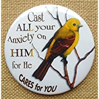 "Fridge Magnet: 3"", Religious, Cast All Your Anxiety On Him Illustrated Faith, Bird"