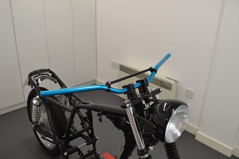 7//8 Motorcycle Handlebars Blue /& Black Braced for Trail Motocross Streetfighter