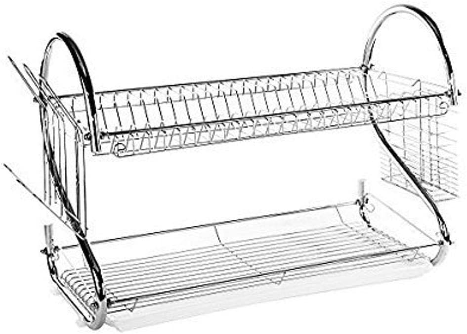 Imperial Home White Elegant 2 Tier Stainless Steel S Shaped Dish Drainer-Drying Rack 22