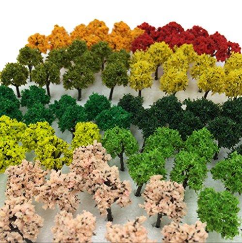 삼림 선택할 수 있 색수량 50개 100개 【DauStage】 N게이지 디오라마 철도 건축 모형용 수목 풍경 3㎝ 21 믹스 90개