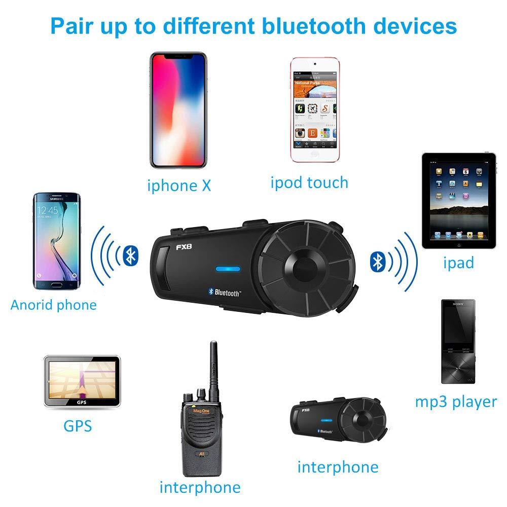 Fodsports FX8 casque de Moto casque 8 coureurs groupe parler 2000 m Bluetooth Moto Interphone sans fil BT Interphone avec FM,moto bluetooth Casque Intercomunicador Intercom Moto 1 pack