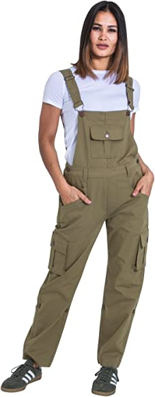 Sand Relaxed fit Roll-up Leg Cotton Bib-Overalls DAISYSPONGE USKEES Womens Dungarees