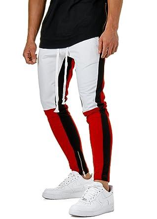 EightyFive Herren Jogginghose Sweat Pants Streifen Tapered Schwarz Rot EFJ5049