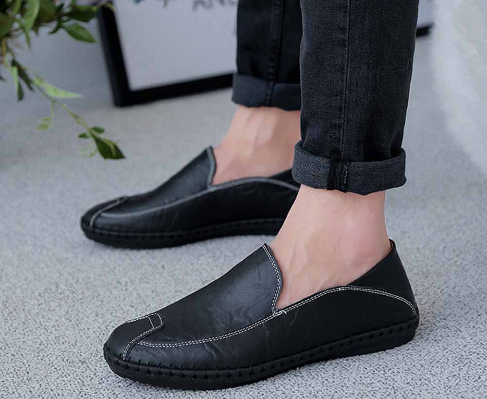 GLSHI Men Casual Shoes Comfortable Loafer Summer New Lightweight Walking Shoes Low Top Handmade Shoes