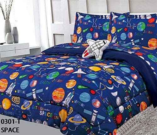 6 Piece Twin Size Kids Boys Teens Comforter Set Bed in Bag with Shams, Sheet Set and Decorative Toy Pillow, Space Planets Rockets Blue Print Blue Multicolor Boys Kids Comforter Bedding Set w/Sheets by Sapphire Home