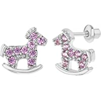 Rhodium Plated Pink CZ Rocking Horse Baby Girl Screw Back Earrings