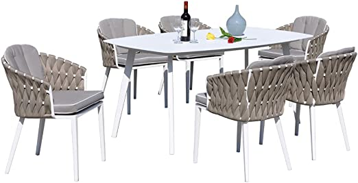 SiBrand Evergreen Juego Mesa + 6 sillas Cojines Muebles Exterior ...
