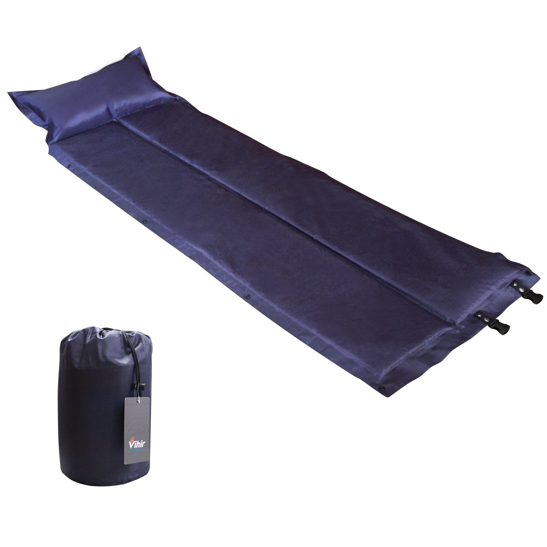 VihirデフクラブパッドSleeping Pads with Attachedの枕キャンプ B07C1LHNDL  ブルー