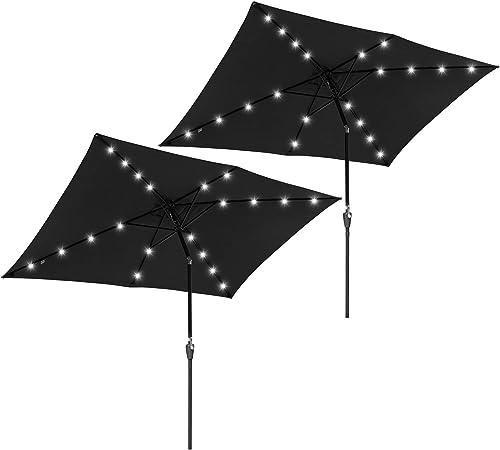 Yescom 2Pack 10×6.5Ft LED Solar Powered Patio Umbrella