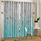 AmaParkhome 70% Blackout Thermal Window Curtain Wood Panels Background with Tones Effect Image for Sliding Glass Patio Doors(2 Panels, 54″ x 84″) For Sale