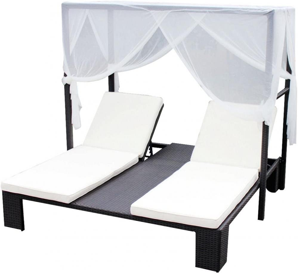 Mobiliario de JardÃn - Cama Balinesa Andrea - Tela Blanca: Amazon.es: Hogar