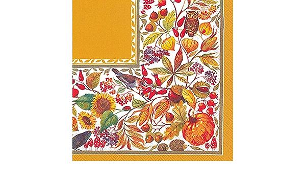 Amazon Com Autumn Harvest Orange 6 5 X 6 5 Folded 3 Ply Paper Lunch Napkin Kitchen Dining