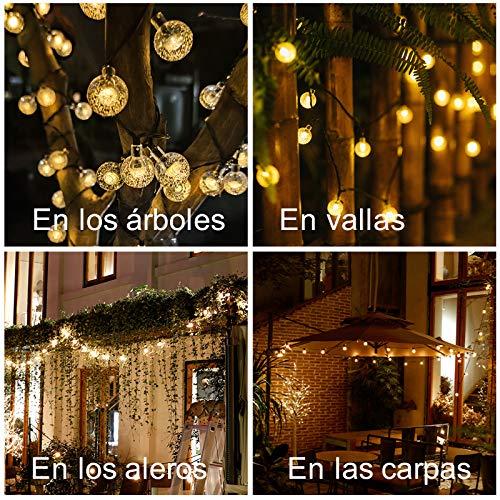 bedee Luces de Cuerda Solar 50 LED 7 Metros Luces solares de Patio con 8 Modos, Luces de Cuerda de Bola de Cristal Impermeable IP65 para Patio, Fiesta, Boda, decoración de Navidad (Blanco cálido)