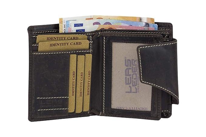 Cartera para señores Monedero para señoras Vintage Style (incluyendo LEAS-regalo caja) LEAS, Piel auténtica, marrón - LEAS Vintage-Collection