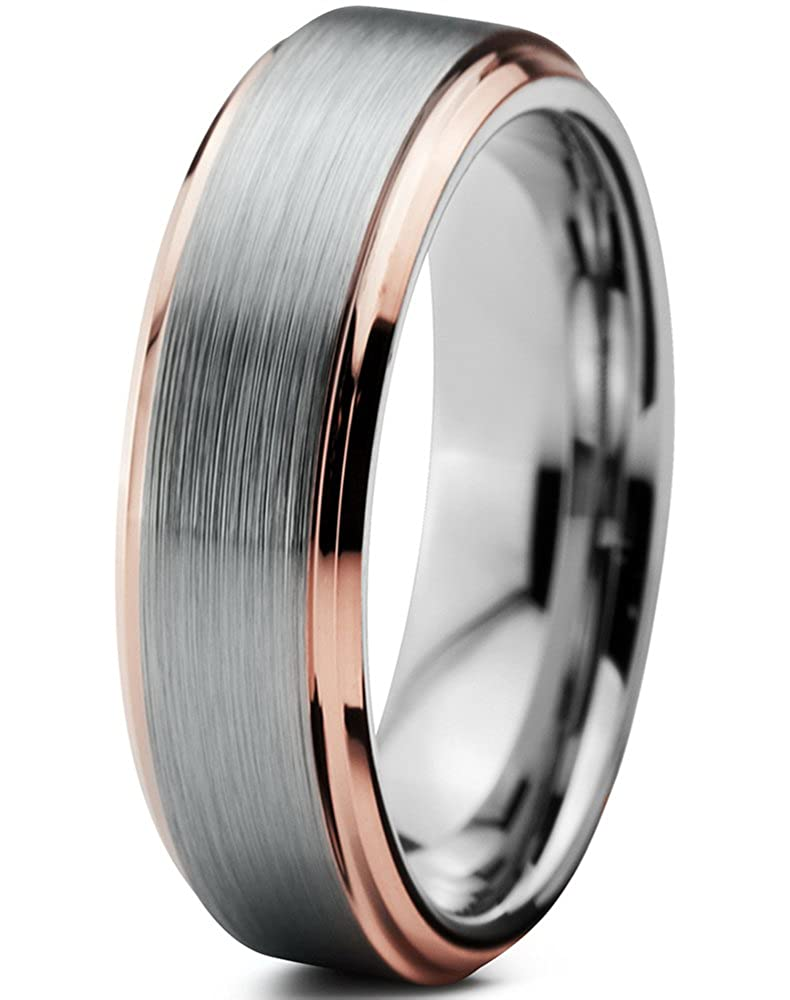 Tungsten Wedding Band Ring 4mm for Men Women Comfort Fit 18K Rose Gold Plated Beveled Edge Brushed Polished Charming Jewelers CJCDN-374-B