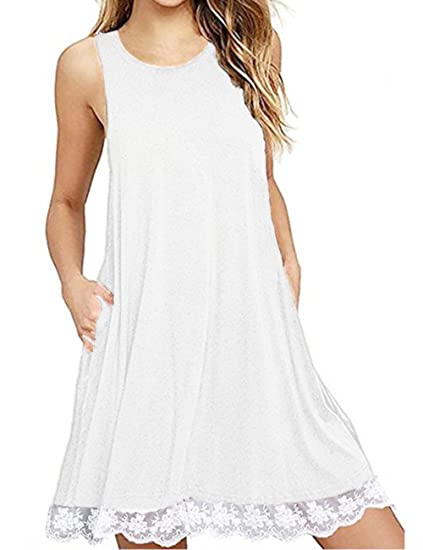 e9d04f2b3b4 Amazon.com  Womens Summer Lace Sleeveless Tunic Tops Casual Loose Swing  T-Shirt Dress with Pockets (White