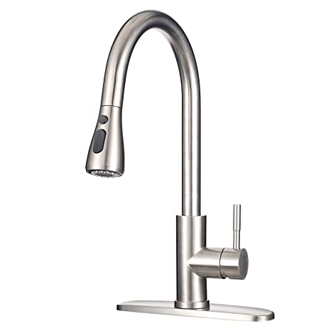 "Stainless Steel Faucet with Pull Down Sprayer MSTJRY Commercial Single  Handle Kitchen Sink Faucets 16.5"" Height Dual Function Pull Out Spray (Deck  ..."