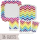 Big Dot of Happiness Chevron Rainbow - Party Tableware Plates, Cups, Napkins - Bundle for 16