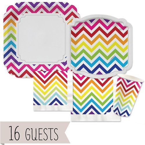 Big Dot of Happiness Chevron Rainbow - Party Tableware Plates, Cups, Napkins - Bundle for 16 ()
