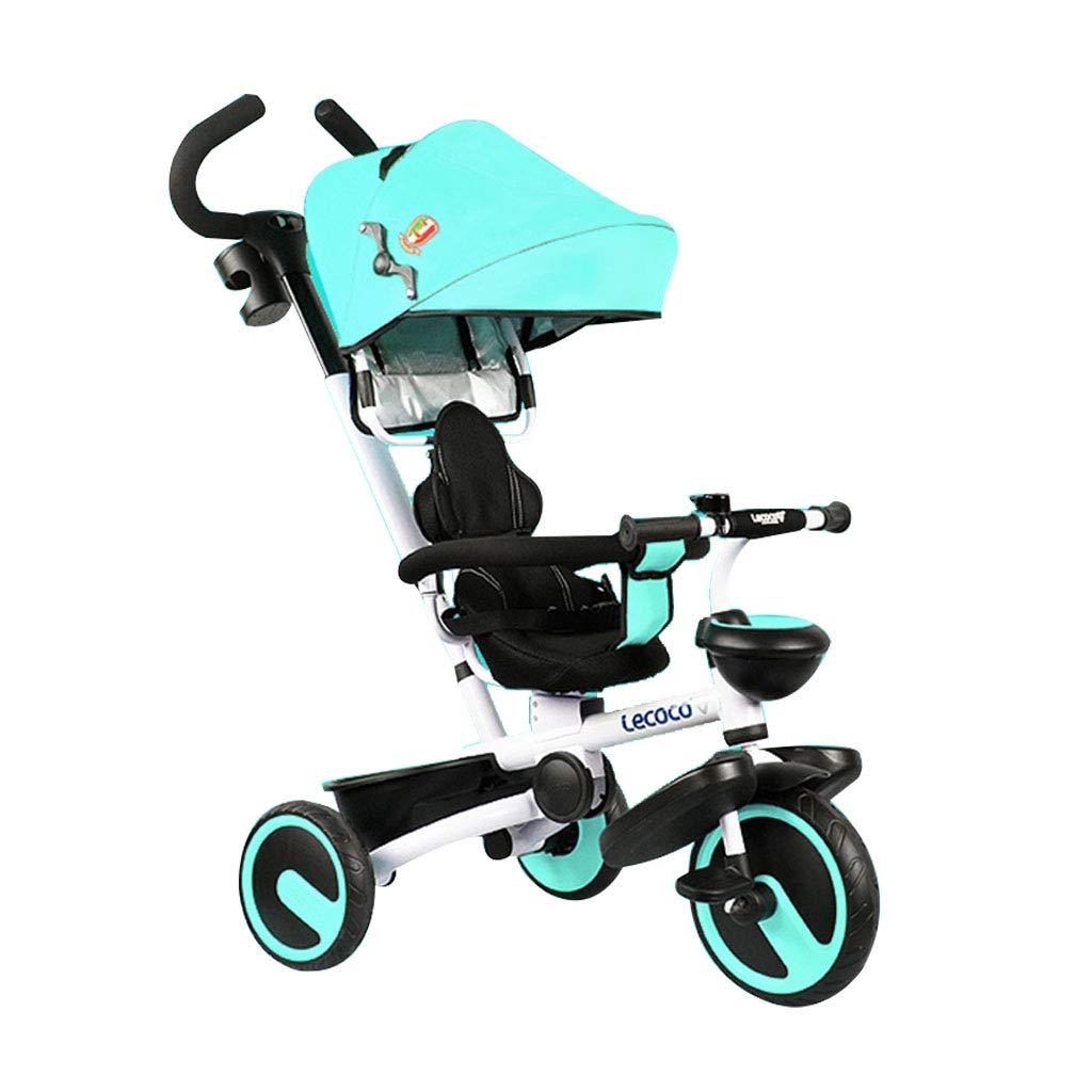 Niño 3 Ruedas Rueda de adhesión de Titanio Rueda 4 en 1 Triciclo para niños Asiento Giratorio Carro de bebé Plegable para niños Cochecitos para niños pequeños Trike Toldo Multifunción