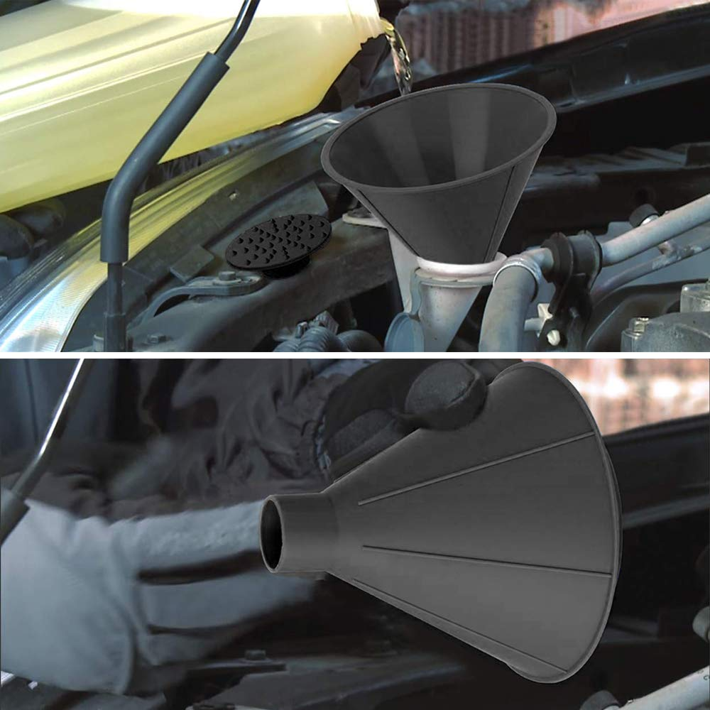 QUEES 2 Pack Ice Scraper Round Car Window Windshield Cone -Shaped 5.7″ Larger Coverage Diameter Snow Funnel Removal Tool with 4 Ice Breakers Black