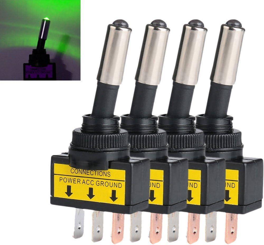 Mintice 4 X Kfz Auto Kippschalter Schalter Wippschalter 12v Grün Led Licht Lampe Beleuchtet Spst 3 Polig Auto