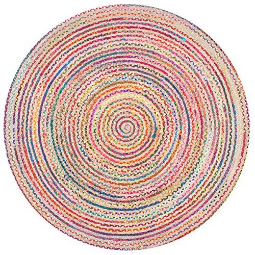 nuLOOM Casual Handmade Braided Cotton Jute Multi Round Rug (6' x 6' Round) - Shaw Rugs Indian Rug