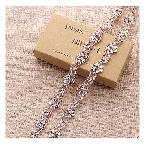 Yanstar Handmade Rose Gold Rhinestone Trim Applique Crystal Beaded On Wedding Belt Sewing On Bridal (810 Roses)