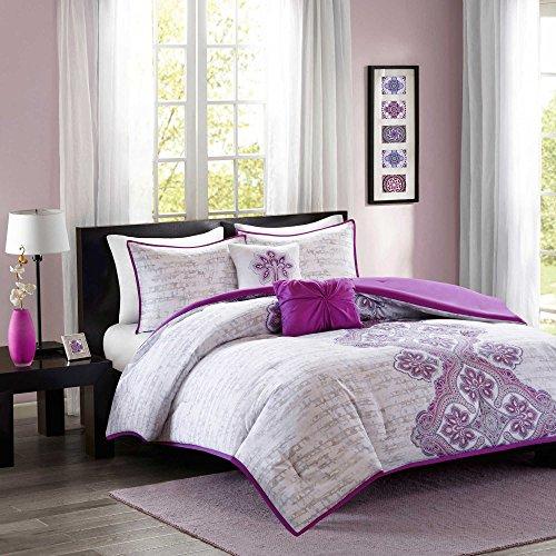 Elegant Teen Girls Chic Bedding 7 Piece Bed in a Bag Medallion Stripe Pattern Purple Microfiber Comforter Set, Twin/Twin (Powerpuff Girls Sexy)