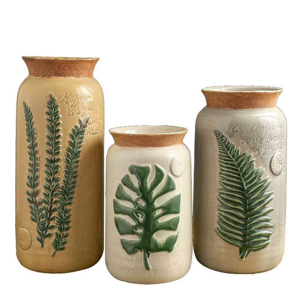 セラミック花瓶ホームデコレーション装飾品ヨーロッパのレトロ居間フラワーアレンジメント磁器のボトル JINGYS B07QR33DJC  3PCS