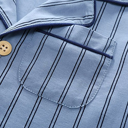 PAUBOLI Boys Button Down Pajamas Set Short Sleeve Organic Cotton Striped Sleepwear Loungewear (6-7 Years) by PAUBOLI (Image #2)