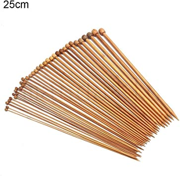 Single Pointed Carbonized Knitting Needles BetyBedy 36PCS Bamboo Knitting Needles Set 9 Inches Length for Handmade Creative DIY 18 Sizes from 2.0mm-10.0mm