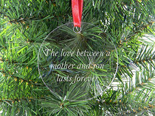 (The Love Between A Mother and Son Lasts Forever - Clear Acrylic Christmas Ornament - Great Gift for Mothers's Day Birthday or for Mom Grandma Wife)