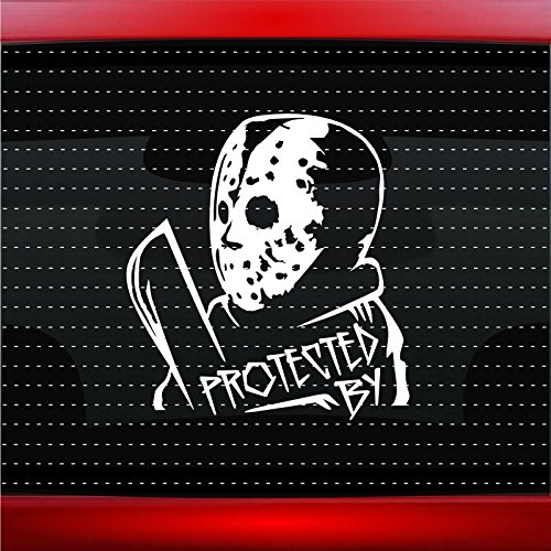 Protected By Jason Vorhees Funny Car Sticker Truck Window Vinyl Decal COLOR: WHITE ()