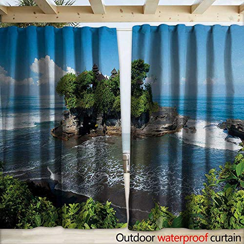 Panel Bali Track (warmfamily Balinese Outdoor Door Curtain Tanah Lot Temple in Bali Island Wavy Ocean Historic Architecture Heritage Picture W108 x L108 Green Blue)