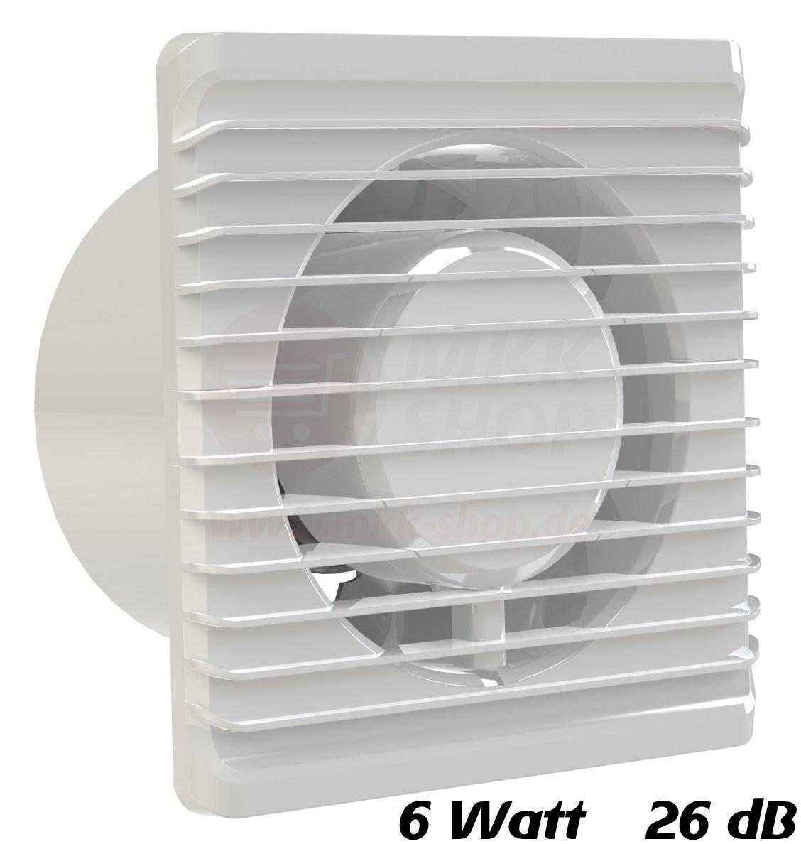 Badventilator Ø 100 mm in weiß MKK-PLANET Lüfter Ventilator Front ...